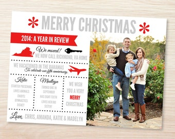 Christmas Card Photo Card Printable JPEG with 2017 Year in Review Card