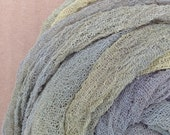 Hand dyed Cotton Scrim, Cotton Gauze, Scarf length for Nuno Felting, Openweave Fabric, Mixed Media  Projects, - Colour Pastel No.46 Hosta
