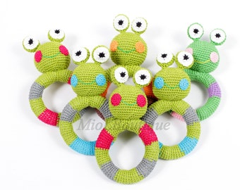Crochet baby toy Frog Teething baby toy,  Grasping and Teething Toys Frog, stuffed toys