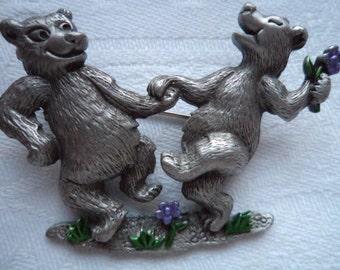 Vintage Signed JJ Silver pewter Dancing Bears  Brooch/Pin
