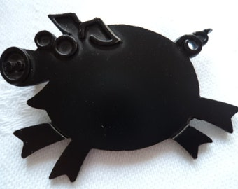 Vintage Signed JJ Black Pig Brooch/Pin