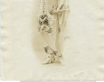 Beautiful young woman in Art Deco dress antique photo