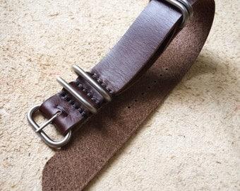 Economy Strap Horween Chocolate Latigo n80 Leather NATO Zulu