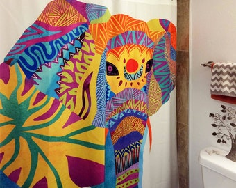 Artistic Shower Curtain for your home decor 'Whimsical Elephant' ethnic multicolor