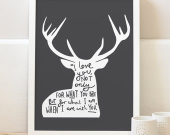 A4 Love Quote Deer Print - woodland deer print - typography print