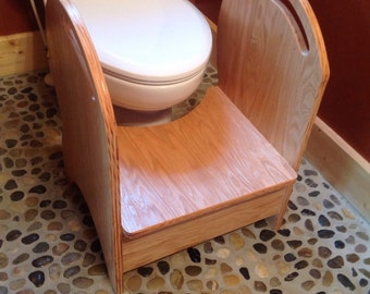 Deluxe wood  potty step stool (oak natural finish)