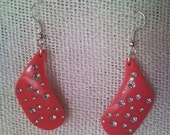 Girly pink earrings decorated with shining strasses, crystals from rec...