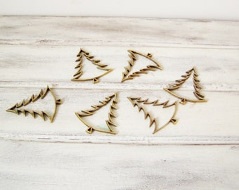 Christmas tree charms, brass christmas trees outline charms, oxidised brass fir tree outline for craft making and gift wrapping, set of six