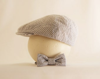 Newborn boy prop, gray seersucker newborn hat and tie set, baby boy gift idea, baby boy shower idea  - made to order