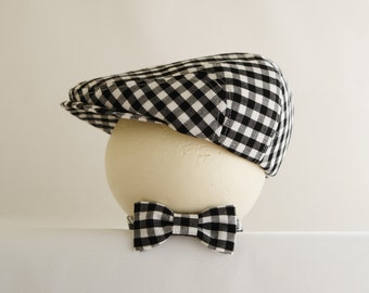 Infant photo prop black gingham hat and bow tie,  infant photography prop gingham check bow tie set - made to order