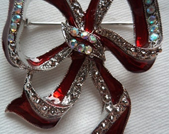 Vintage Unsigned Silver/Red/Rhinestone Bow Brooch