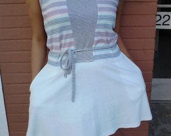 80's/90's pastel striped summer dress