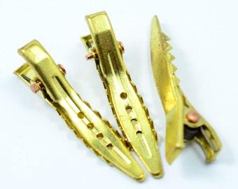 12 Pieces Raw Brass 8x32 mm Alligator Clips