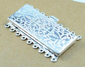 1 Pcs 9 Strand  Silver Tone 26x45 mm Filigree Box Clasp ,Rhinestone Clasp