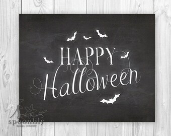 Fall Decoration Happy Halloween Sign Halloween Art Print Halloween Decor Black and White Halloween Halloween Party Decoration Halloween Art