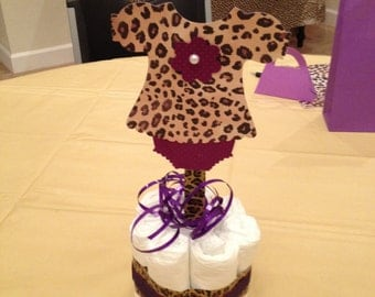 Baby Shower centerpiece diaper cake leopard print girl or boy x3