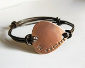 Men/Women Copper Guitar Pick Bracelet, Leather Bangle Personalized Hand Stamped Custom Message, Groomsmen Boyfriend Anniversary,Holiday Gift