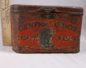 Antique Central Union Cut Plug tobacco box tin rare.epsteam