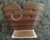 Cedar Wood yarn bowl, One of a kind wooden bowl for knitting or crocheting with weighted foot