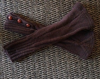 Upcycled, Recycled, Refashioned, Repurposed Brown Leg Warmers/Arm Warmers