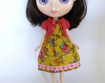 Hand Made Blythe or Bratz Doll Mustard Floral with Pink Braid Trim and Matching Pink Knitted Short Sleeve Cardy