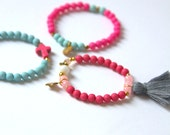 Stretch Beaded Bracelets, Stackable Bracelets, Tassel Bracelet, Beaded Bracelet, Colorful Bracelet, Pink Bracelet, Gold Charm Bracelet BR05