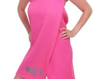 5 Bridesmaid Gifts Monogrammed Spa Wraps 8 Colors