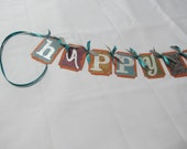 Fall Birthday Banner, Happy Birthday Banner, Teal Silver and Pumpkin, MADE TO ORDER