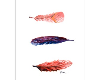 Catchii illustration, with originally hand-painted illustration of fluttering feathers