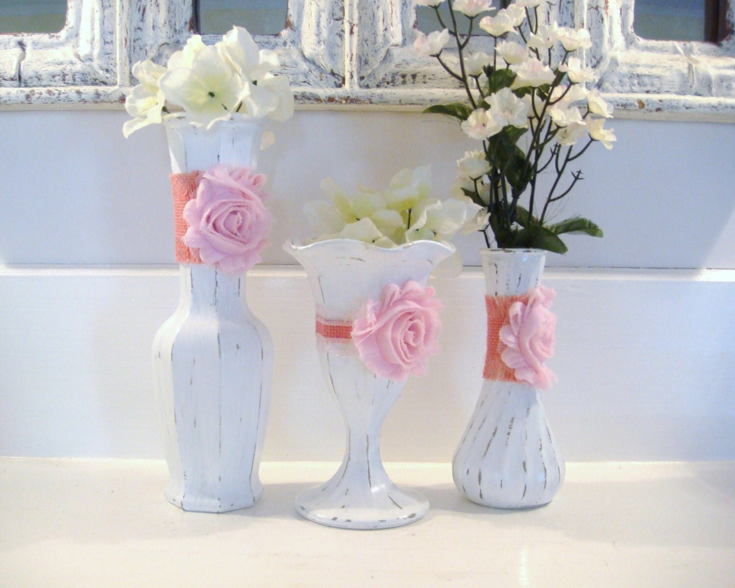 white vases shabby chic nursery nursery decor pink flower. Black Bedroom Furniture Sets. Home Design Ideas