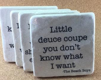 Beach Boys Lyrics SET Of 4 TILES. 4  marble coasters. Decorative coasters. Music lover gift. Beach Boys lover gift.