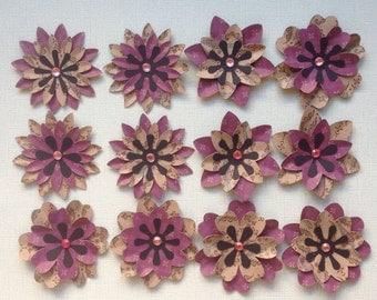 Pretty Purple & Kraft Cardstock Layered Flowers