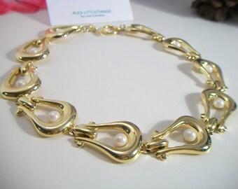 Vintage U Link Pearl Necklace Chunky Statement Piece Bridal Wedding