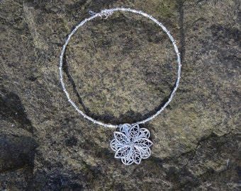 Silver Flower Necklace - World Ethnic Festival Choker Beach