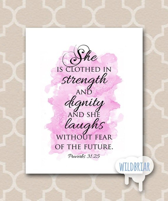 Poster She Is Clothed With Strength: Printable Nursery Wall Art Watercolor Scripture By