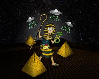 Original Illustration Digital Print Square Wall Art Print Egyptian Pharoah Pyramids Alien UFO Attack