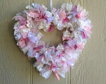 Valentine Rag Wreath, Heart Wreath, Pink and white Heart Rag Wreath, Shabby Chic heart wreath