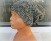 Handmade grey cable knit chunky, soft, warm unisex hat, slouchy hat, men, women, wool