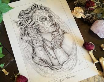 """A4 """"Dia De Los Muertos"""" Illustration Drawing Print"""