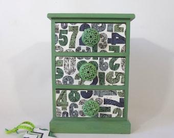 3 drawer chest wooden numbers flowers zig zag patterns treasures keepsakes boys girls teacher darling gift