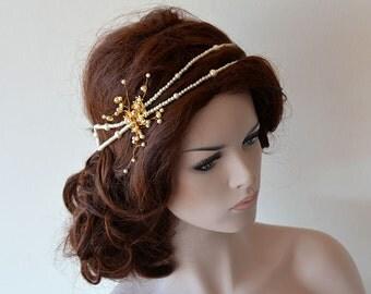 Wedding Pearl Headband, Bridal Headband, Pearl Headband, Gold Flower  Bridal Double, Bridal Hair Accessory, Wedding Accessory