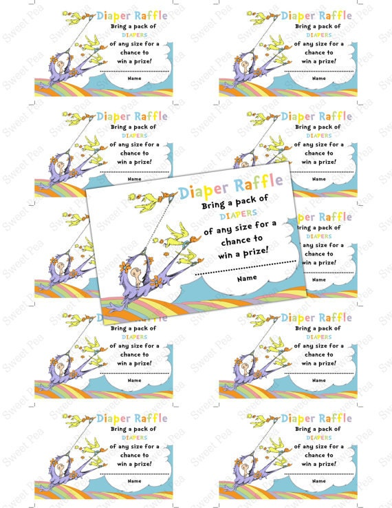 doctor seuss oh baby the places you 39 ll go baby shower diaper raffle