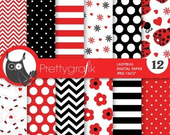 Ladybug digital papers, commercial use, scrapbook papers, background - PS687