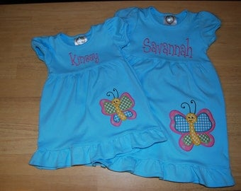 Monogrammed Aqua Spring Dress