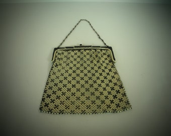 Black and White Whiting and Davis Mesh Purse
