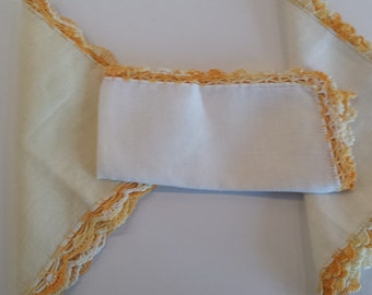 Crochet Edge Irish Linen Hankies - J