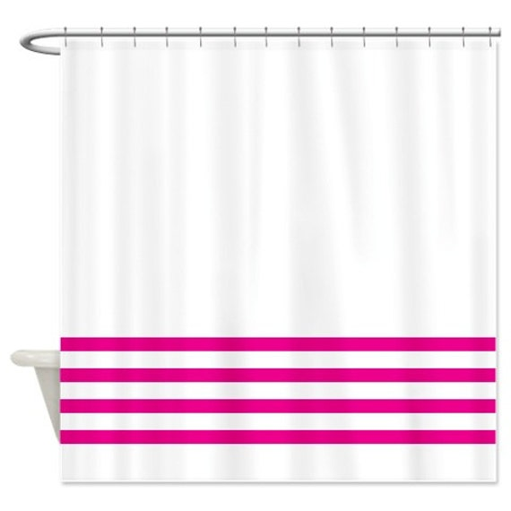Striped Shower Curtain White With Hot Pink Stripes OR