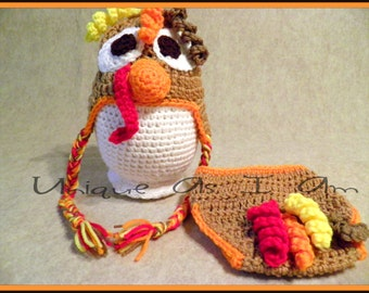 Turkey Day Crocheted Baby Hat and Diaper Cover/Photo Prop