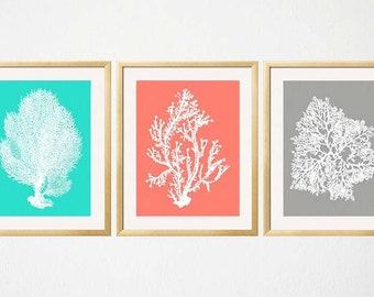 Turquoise Coral Gray Wall Art, Coral Print set, Sea Coral Art Prints, Marine Botanical, Beach Decor Coral Prints, Coral Bedroom Decor
