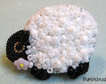 Little Sheep - Seed Bead Embroidered Brooch Tutorial